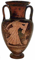 Death of Orpheus, Thracian woman with axe. Detail from Athenian red-figure neck-amphora c. 500-450 BC. Ashmolean Museum 1966.500. Photo. Beazley Archive, Ian Hiley