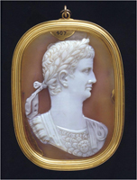 Sardonyx cameo showing bust of Roman Emperor Claudius