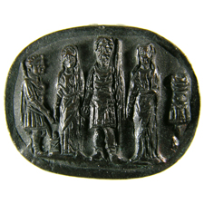 Cameo. Warrior, youth and two women