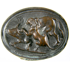 Cameo. Lion and bull