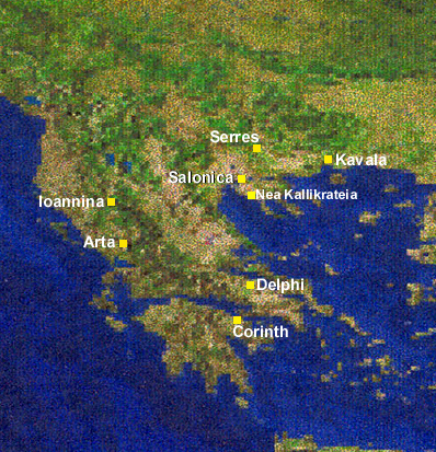 Map of mainland Greece