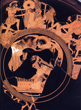 Onesimos 'Sack of Troy' cup - detail