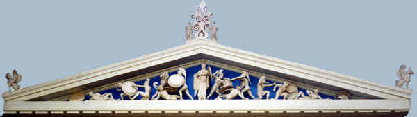 Photo of plaster model of Aegina temple pediment