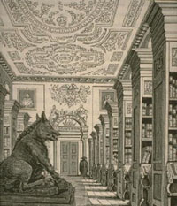 Etching of Queen's Library