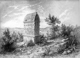 Drawing of Lycian tomb